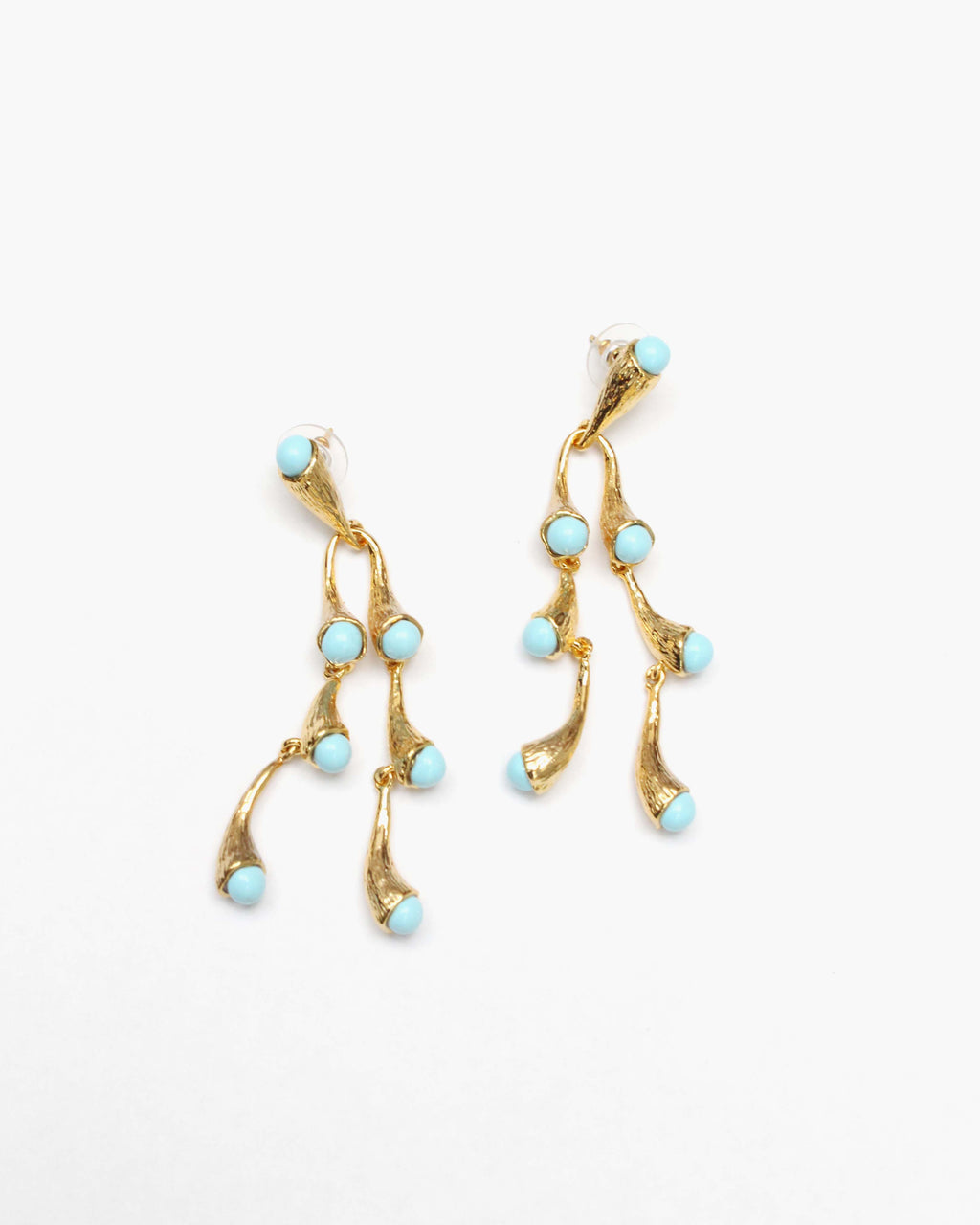 Julia Earrings Gold Plated with Blue Enamel
