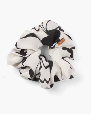 Scrunchie Crepe Print Black + White