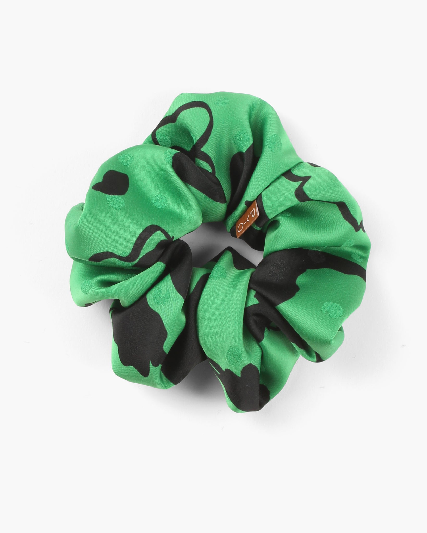 Scrunchie Satin Print Green
