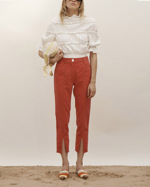 Elise Trousers Cotton Linen Red - SPECIAL PRICE