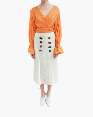 Flora Wrap Tie Blouse Cotton Orange