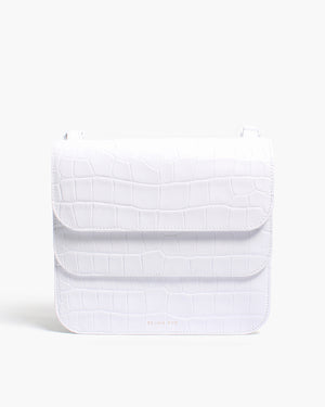 Ana Bag Leather Croc White