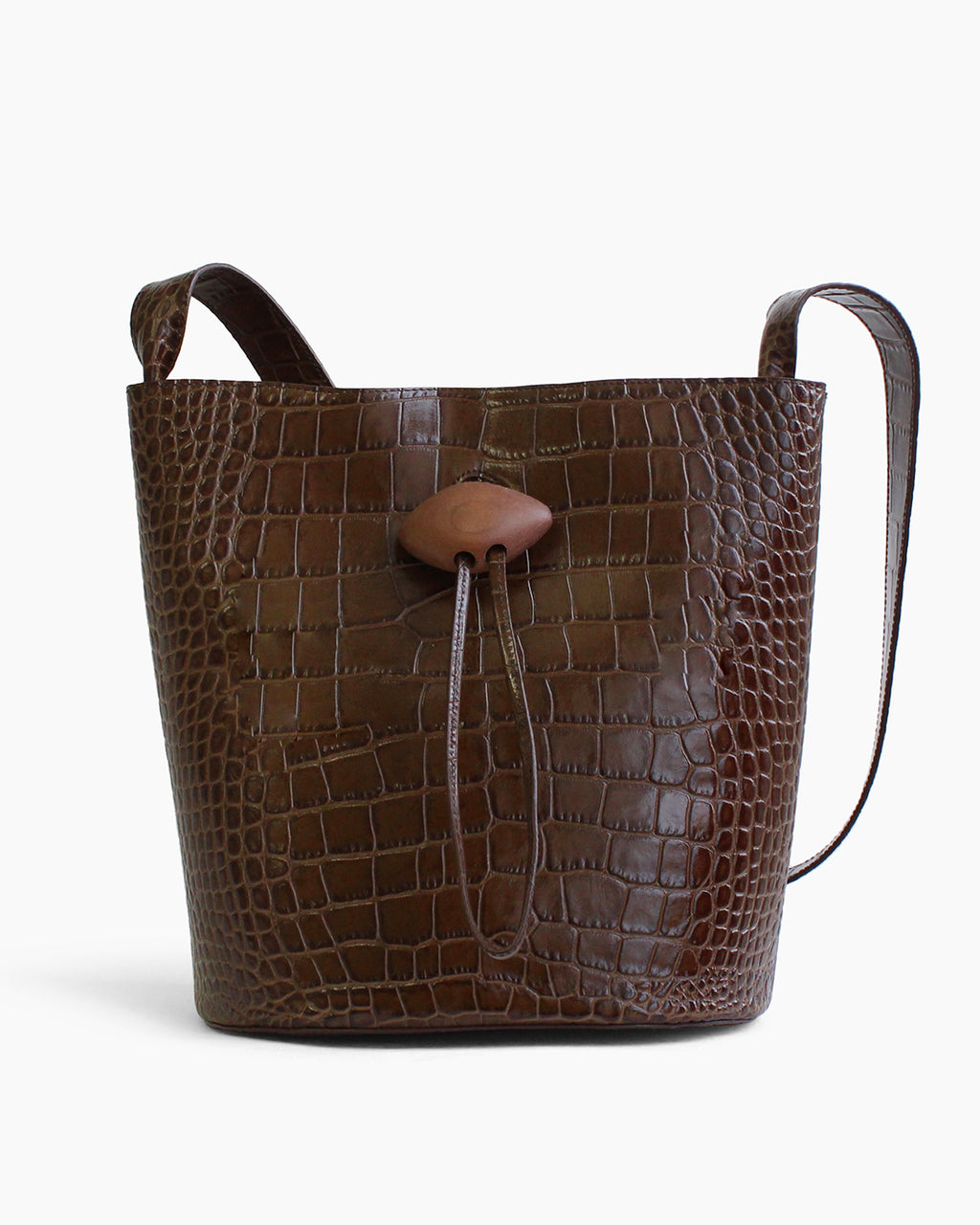 Naomi Bag with Natural Wood Closure Leather Croc Brown - SPECIAL PRICE