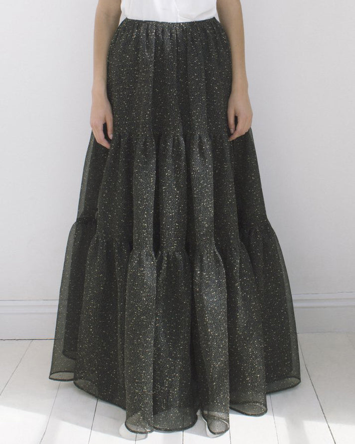 Eva Black and Gold Organza Skirt