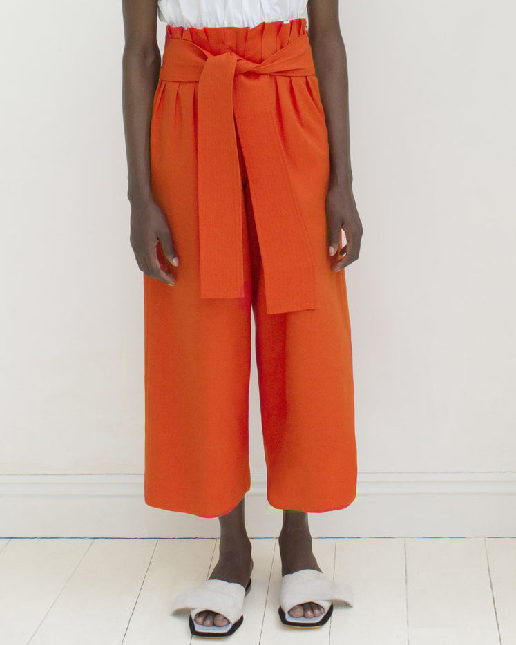 Ivy Belted Trousers Cotton Red - SPECIAL PRICE
