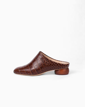 Gaby Mule Leather Croc Brown