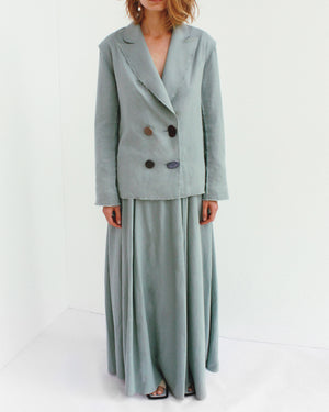 Alex Raw Seam Jacket Linen Dark Mint