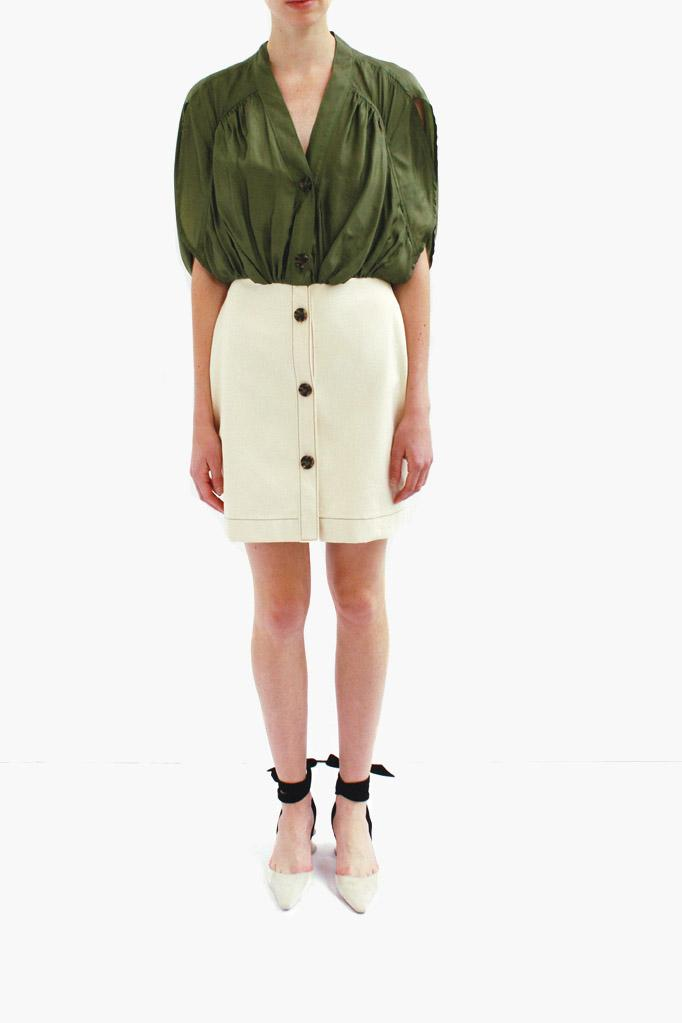 Yana Dress Khaki Green and Denim Ecru - SPECIAL PRICE