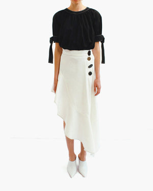 Ella Asymmetric Ruffle Skirt Denim White