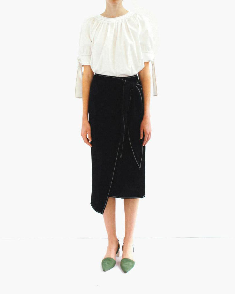 Colette Wrap Tie Skirt Rayon Black