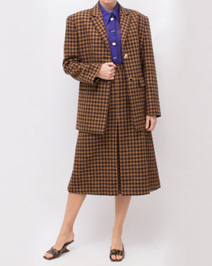 Hazel Skirt Wool Blend Check Brown