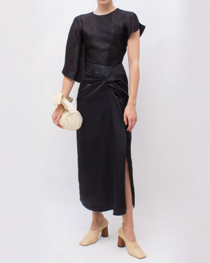 Iris Skirt Satin Mix Black