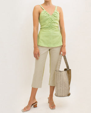 Isla Trousers Cotton Linen Blend Pistachio Green + Linen Artichoke Green - SPECIAL PRICE