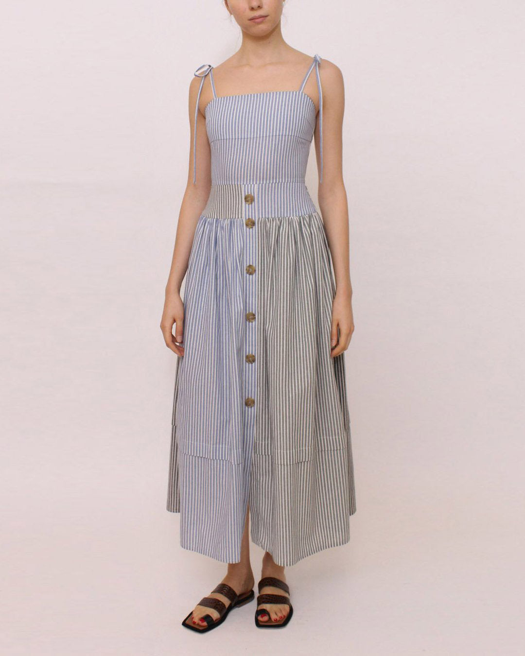 Issy Dress Cotton Stripe Mix