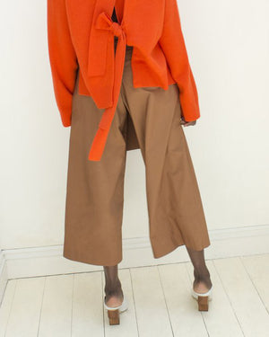 Ivy Cotton Belted Trousers Brown