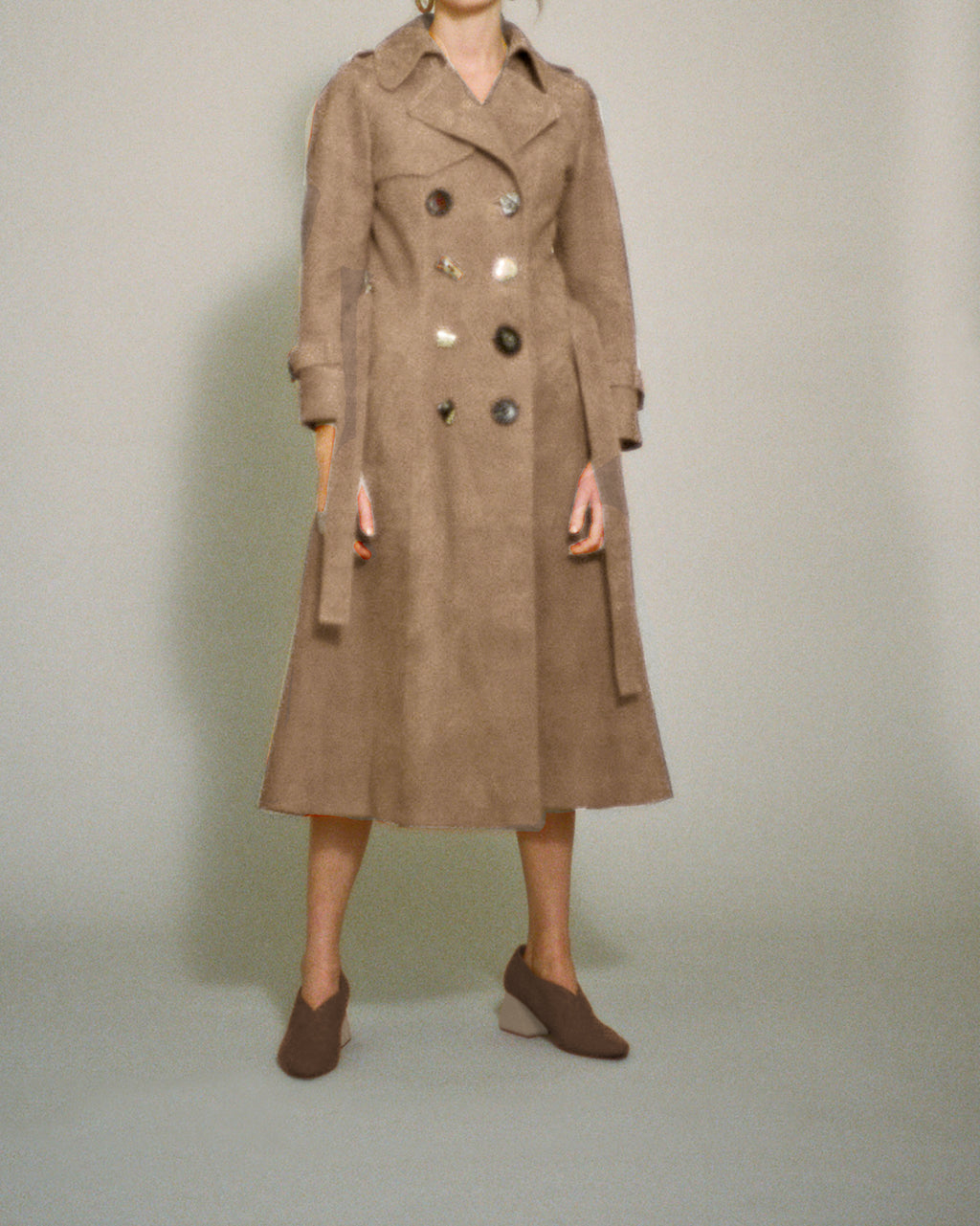 Kirsten Trench Coat Taupe Suede