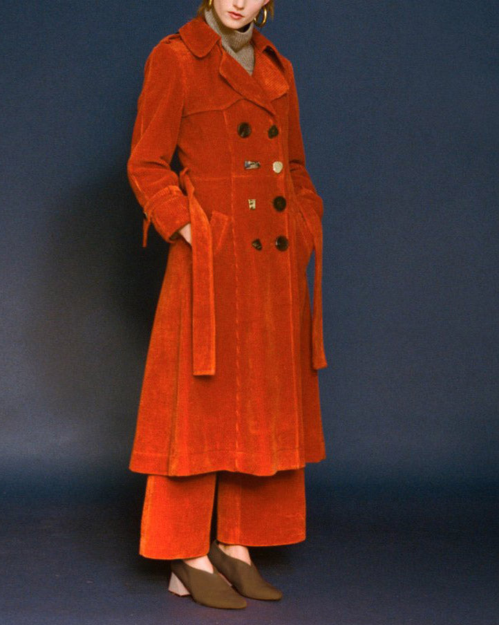 Kirsten Trench Coat Corduroy Orange