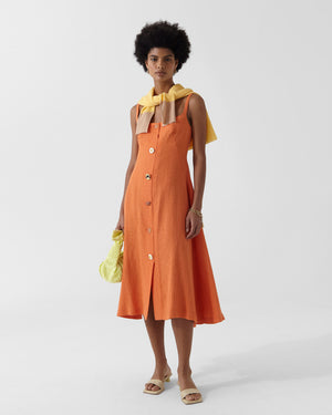 Kit Dress Linen Cotton Blend Orange