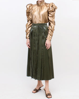 Layla Skirt Satin Khaki Green