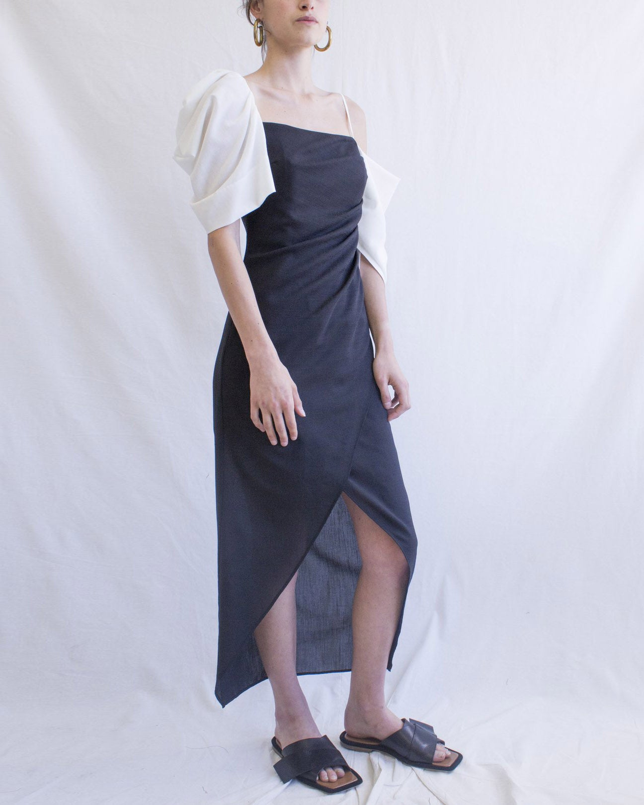 Layla Dress Crepe Ivory + Black