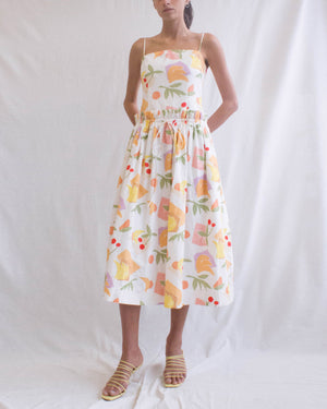 Leah Dress Cotton Bamboo Fruit Print - SPECIAL PRICE