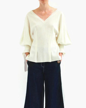 Lexi Knit Ivory V-Neck Jumper