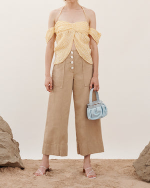 Lotta Trousers in Cotton Linen Taupe