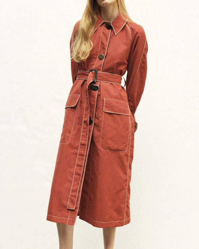 Hazel Linen Brick Red Belted Coat