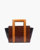 Contrast Tote Leather Croc Brown Black and Tan