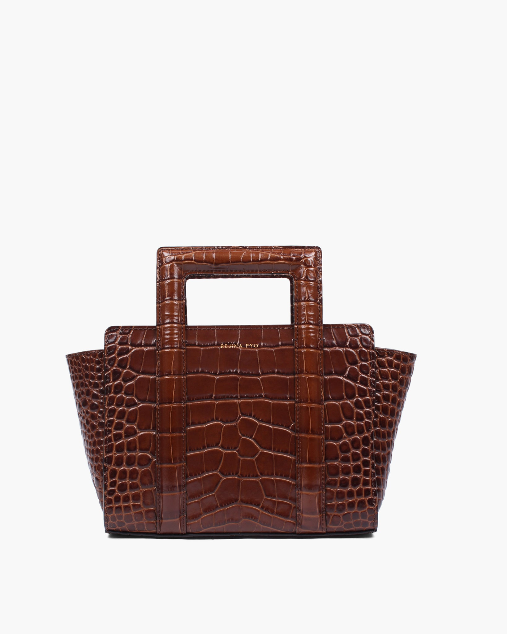 Madison Tote Leather Croc Brown
