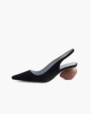 Margot Slingbacks Suede Black + Dark Wood Heels