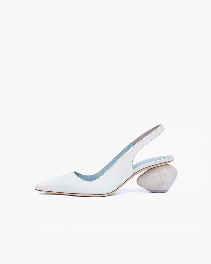 Margot Ivory Leather Slingback with White Heel