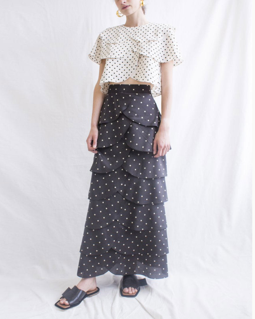 Marta Skirt Cotton Polka Dot Black