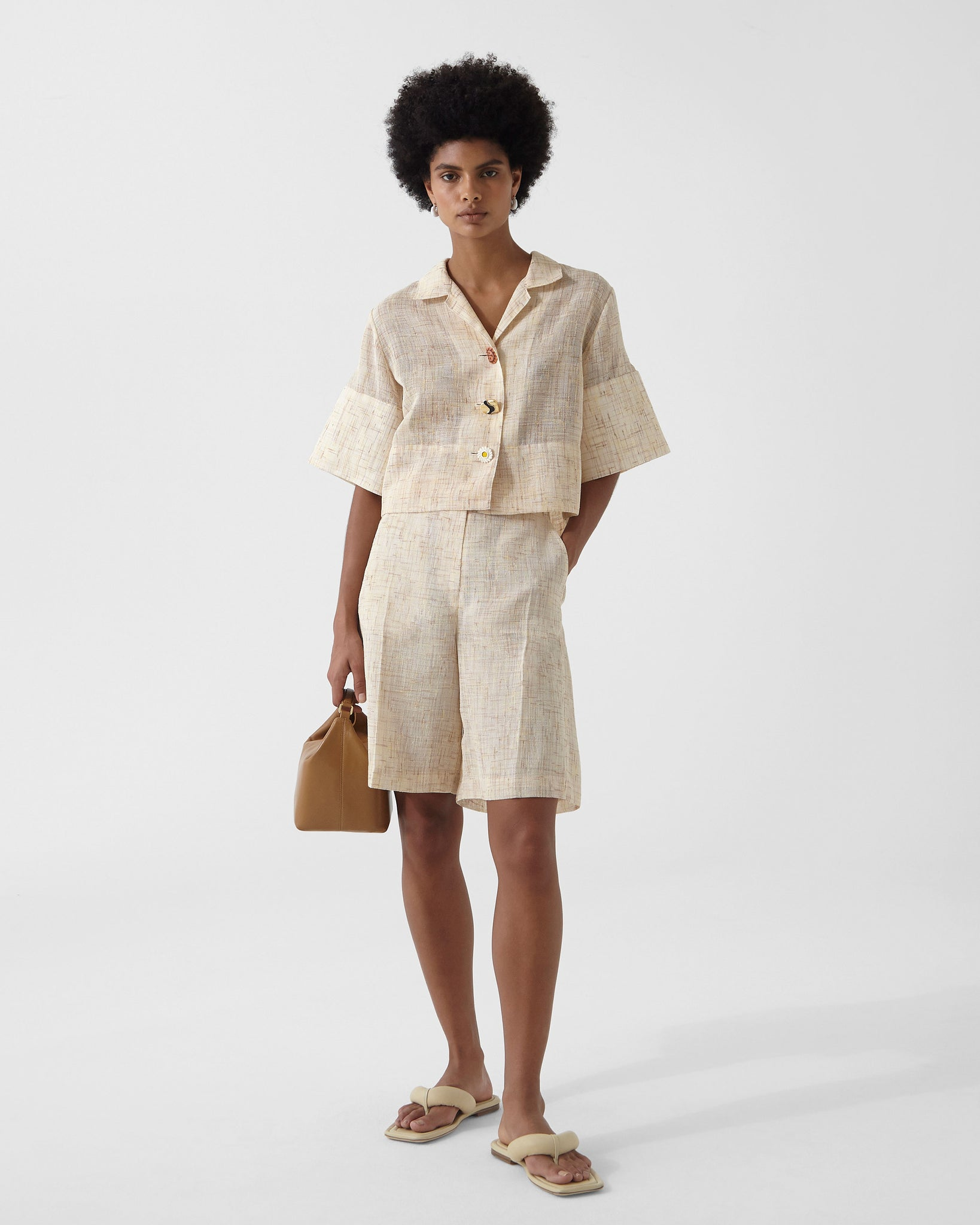 Meryl Shirt Voile Tweed Beige + Yellow