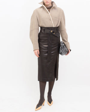 Mia Skirt Leather Black