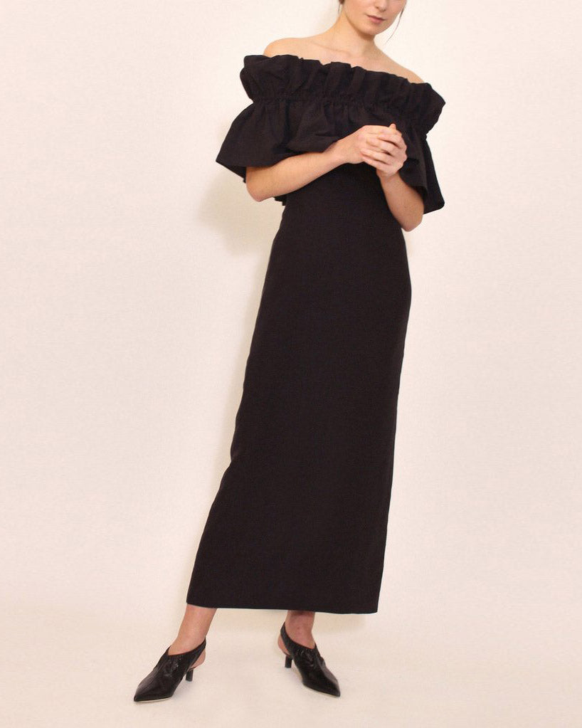 Mina Linen Dress Black