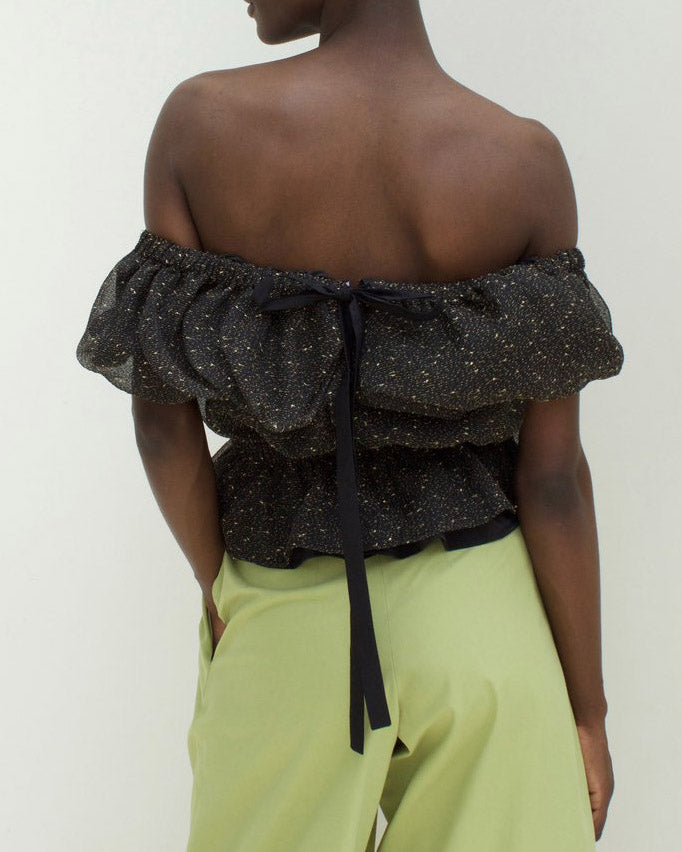 Mina Ruffled Blouse Organza Black and Gold - SPECIAL PRICE