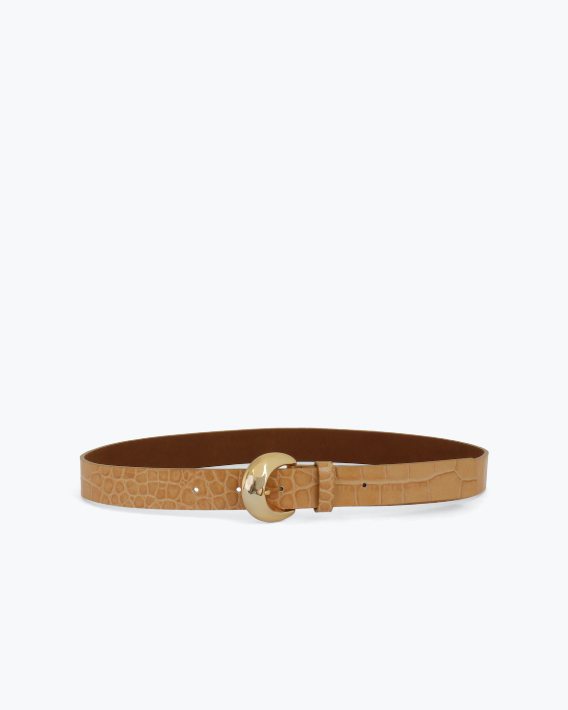 Moon Belt Leather Emboss Croc Clay