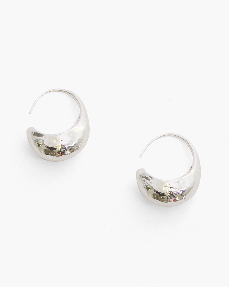 Moon Hoops Silver Plated