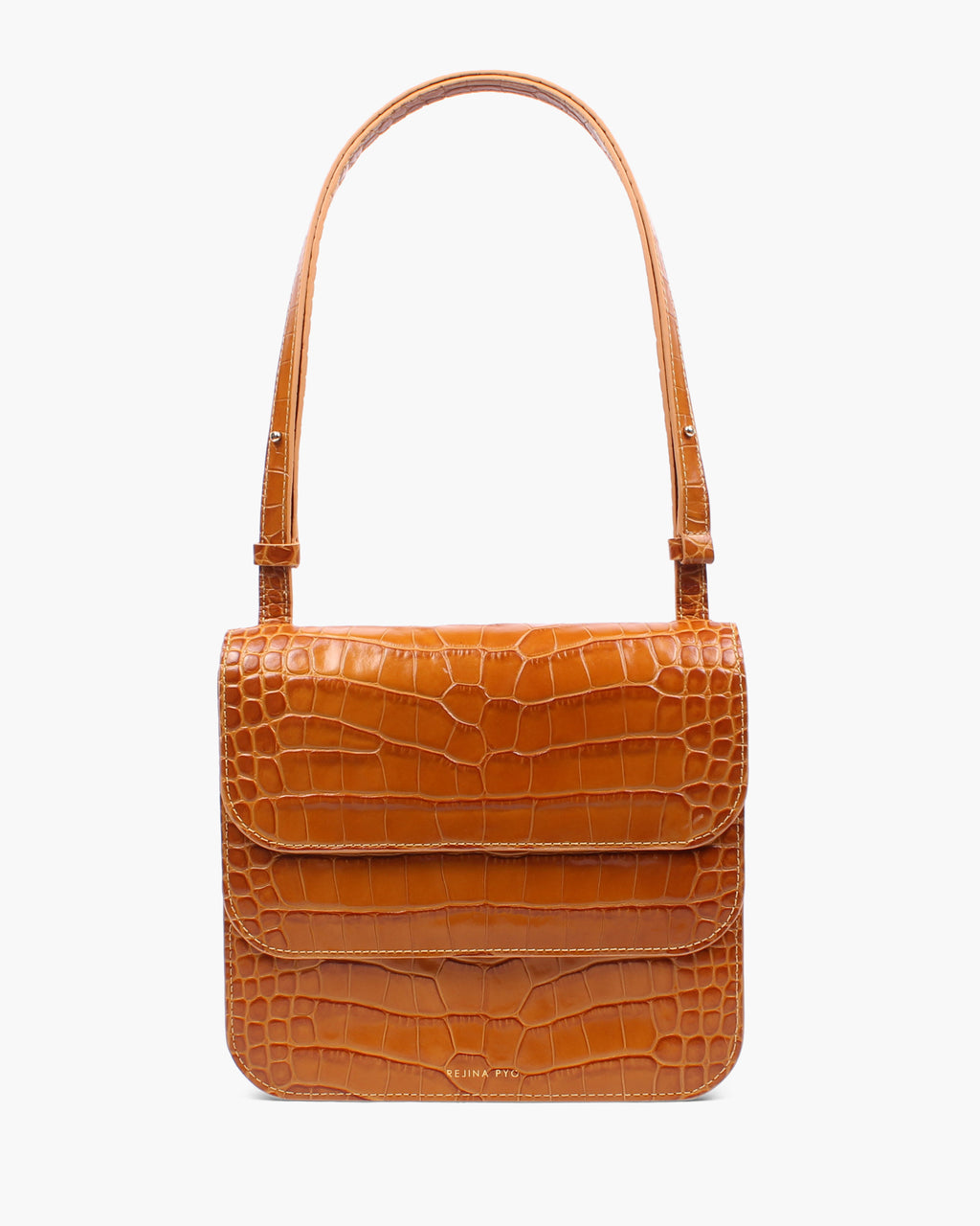 Ana Bag Leather Croc Mustard