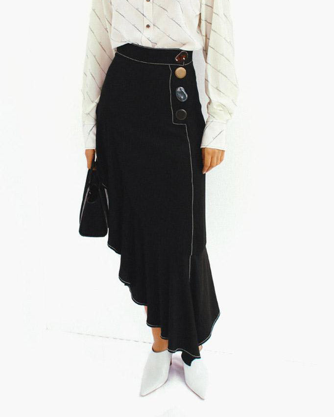 Ella Asymmetric Ruffle Skirt Black