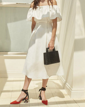 Olivia Off-Shoulder Dress Off-White - SPECIAL PRICE