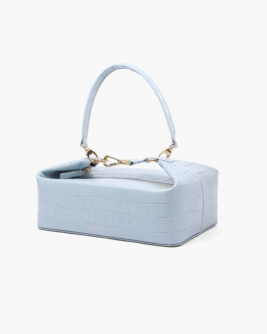 Olivia Box Bag Leather Croc Duck Egg Blue