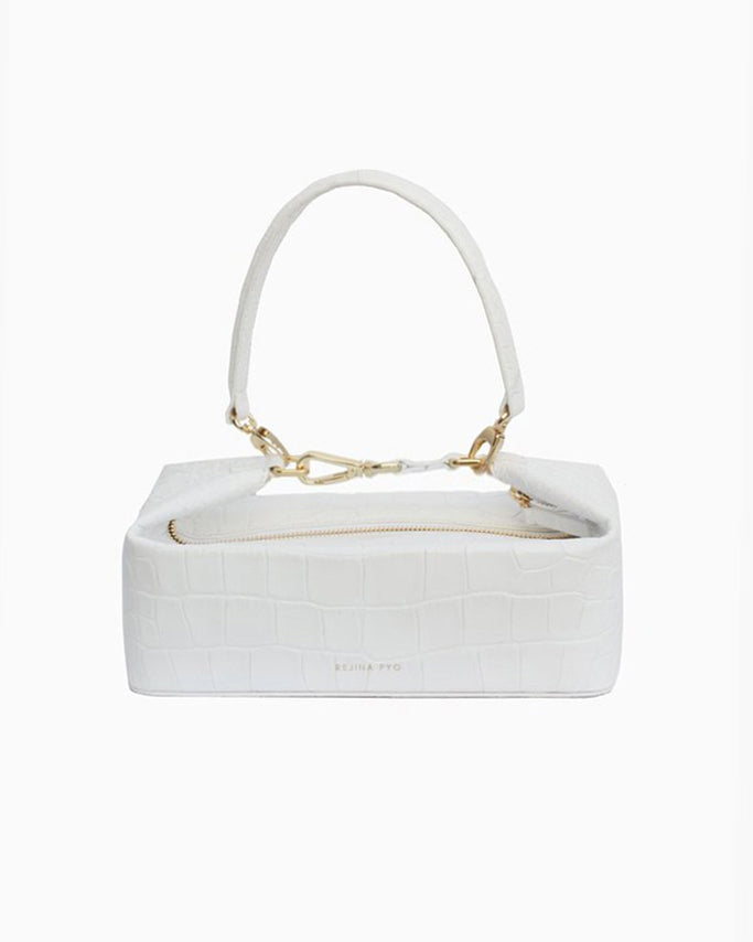 Olivia Box Bag Leather Croc White