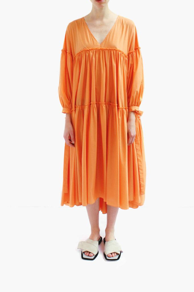 SaraOversized Gathered Dress Cotton Orange