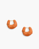 Iris Hoops Gold Plated with Orange Enamel