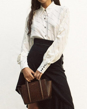 Naomi Shirt Silk Off-White with Businesswoman Print