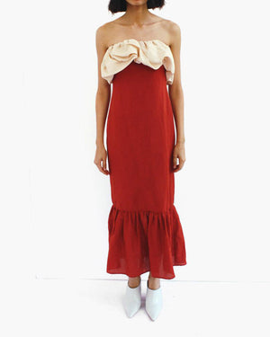 Allegra Sleeveless Ruffle Detail Dress Linen Brick Red + Beige