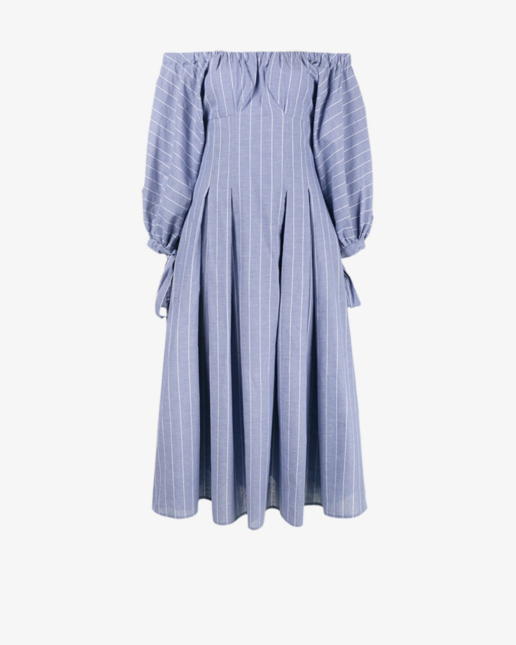 Greta Open-Neck Dress Cotton Stripe Blue - Browns - Not for online