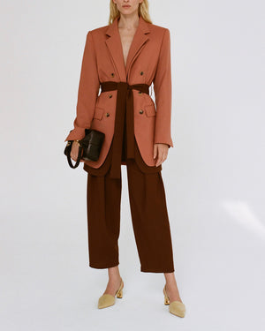 Riley Trousers Wool Suiting Rust Brown - SPECIAL PRICE